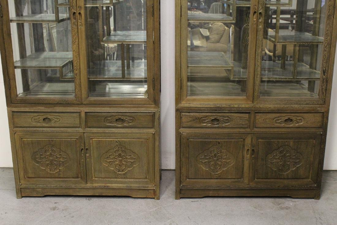 Pair beautiful Chinese jichi wood display cases - 4