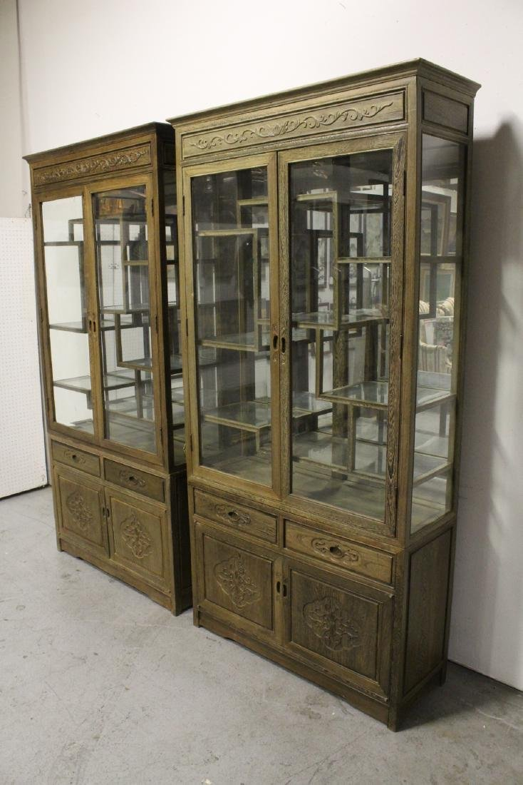 Pair beautiful Chinese jichi wood display cases - 5