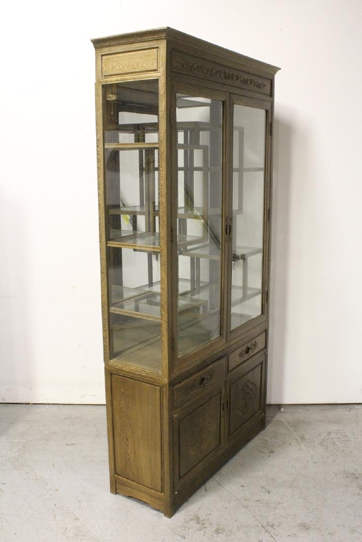 Pair beautiful Chinese jichi wood display cases - 7