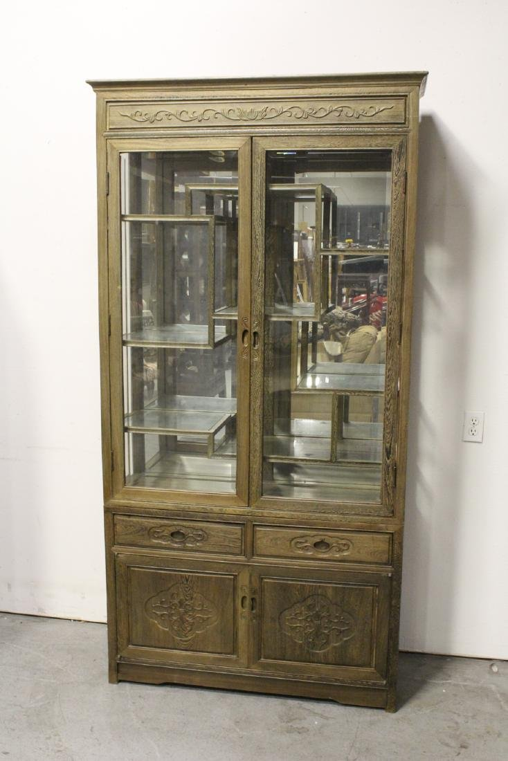 Pair beautiful Chinese jichi wood display cases - 9