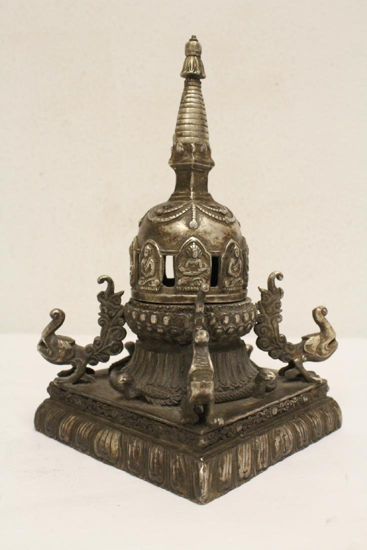 Chinese silver on bronze tower - 9