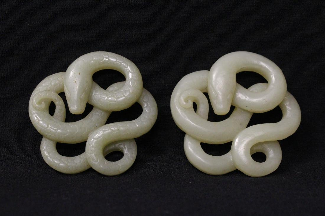 4 Chinese celadon jade carved ornaments - 2