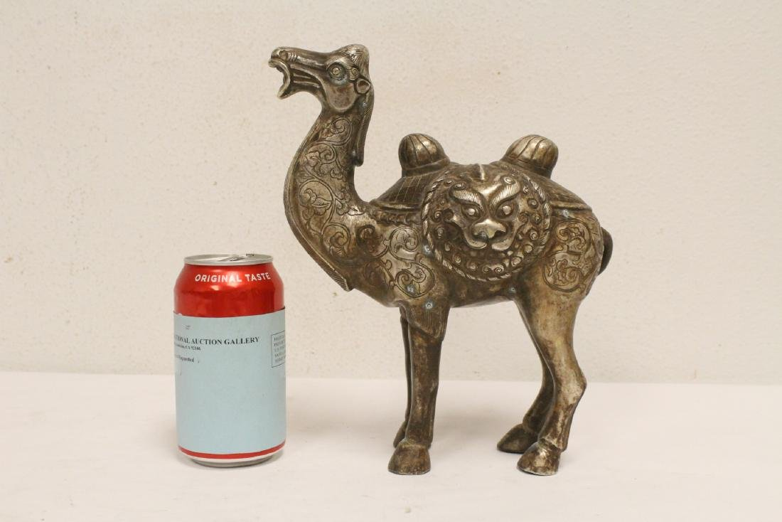 Chinese silver on bronze camel - 2