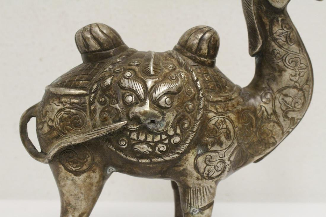 Chinese silver on bronze camel - 4
