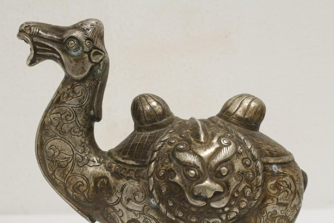 Chinese silver on bronze camel - 7