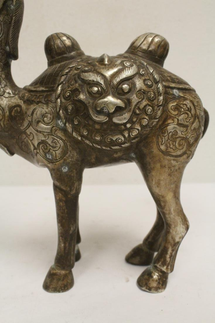 Chinese silver on bronze camel - 8