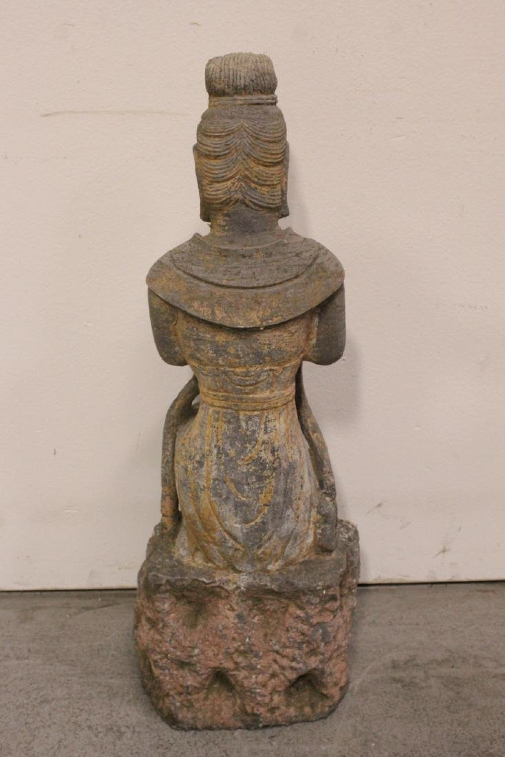 A fine Chinese stone carved standing Buddha - 10