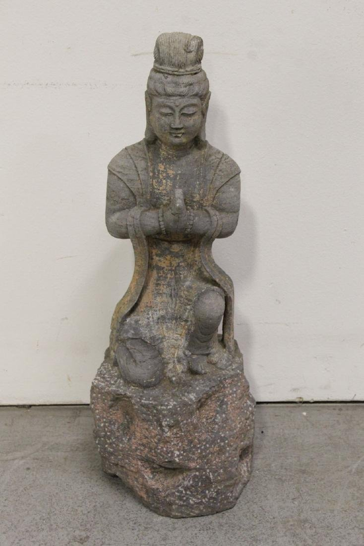 A fine Chinese stone carved standing Buddha - 2