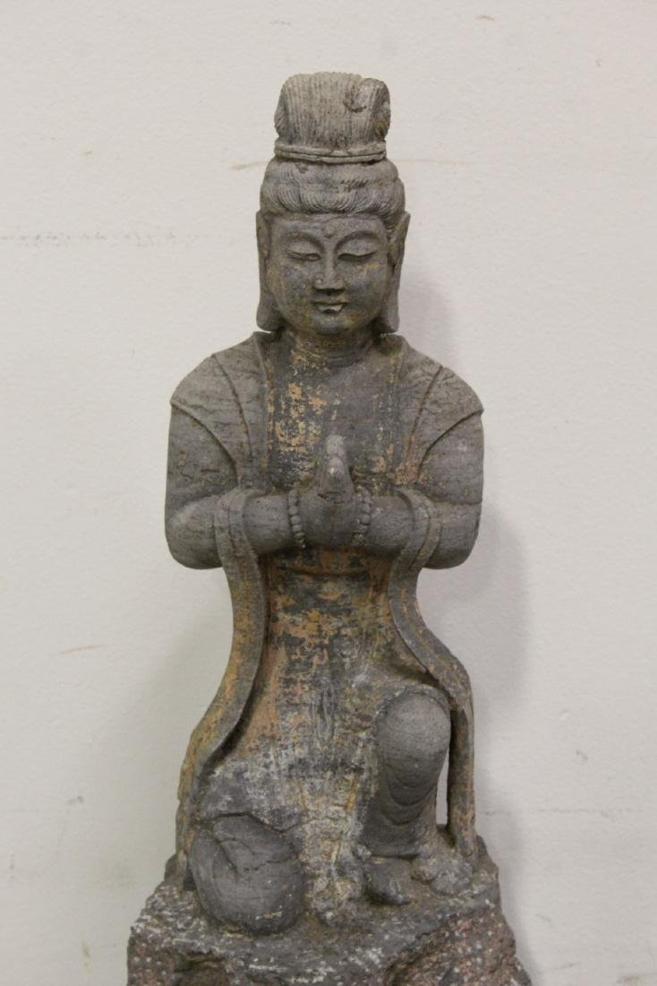 A fine Chinese stone carved standing Buddha - 4