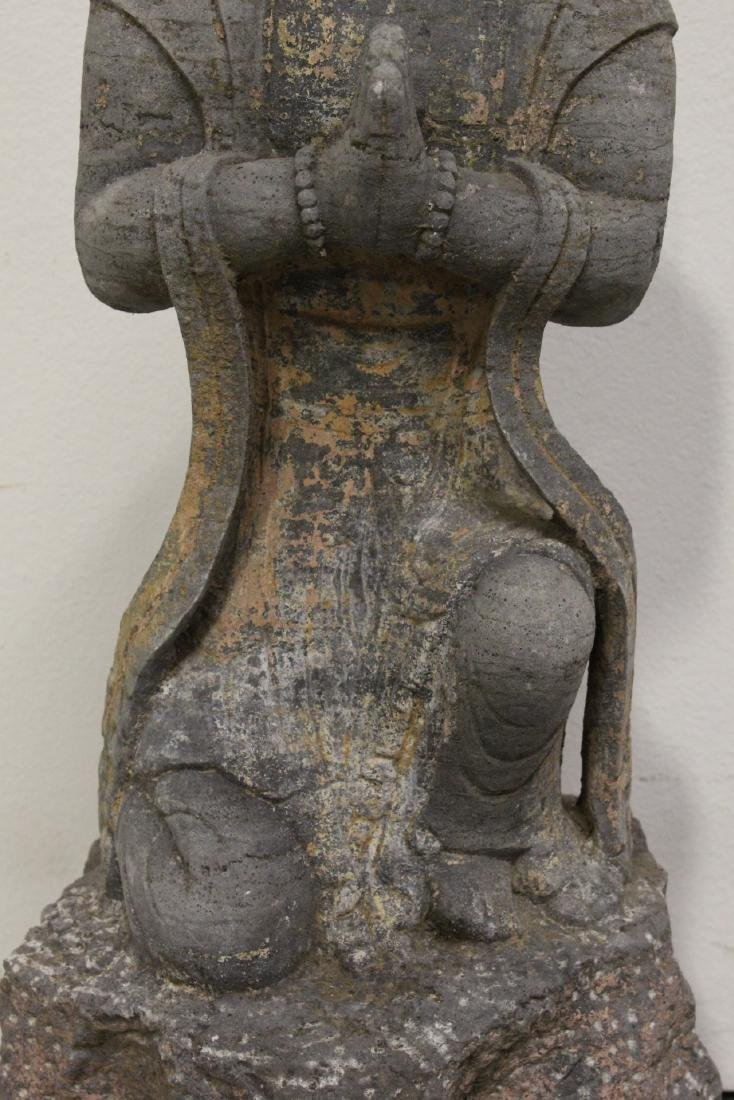 A fine Chinese stone carved standing Buddha - 5
