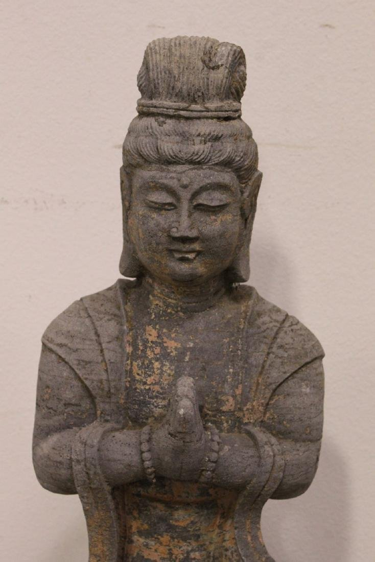 A fine Chinese stone carved standing Buddha - 6