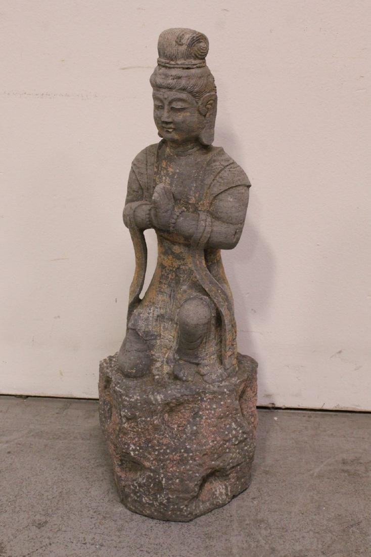 A fine Chinese stone carved standing Buddha - 7