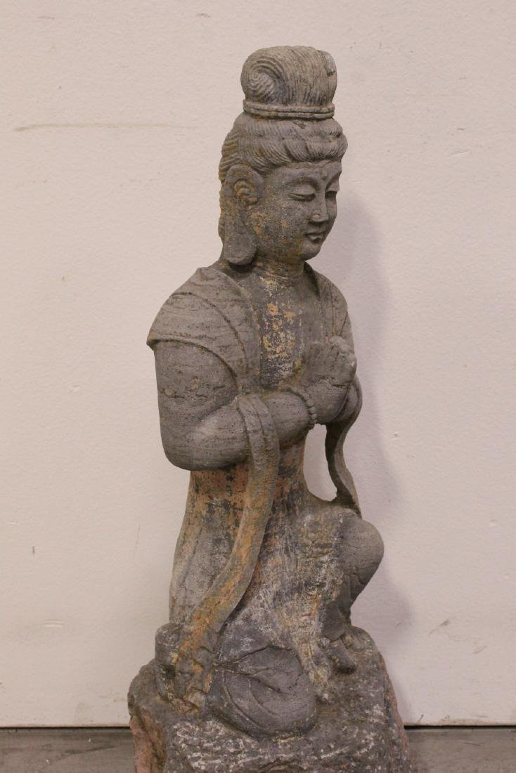 A fine Chinese stone carved standing Buddha - 8