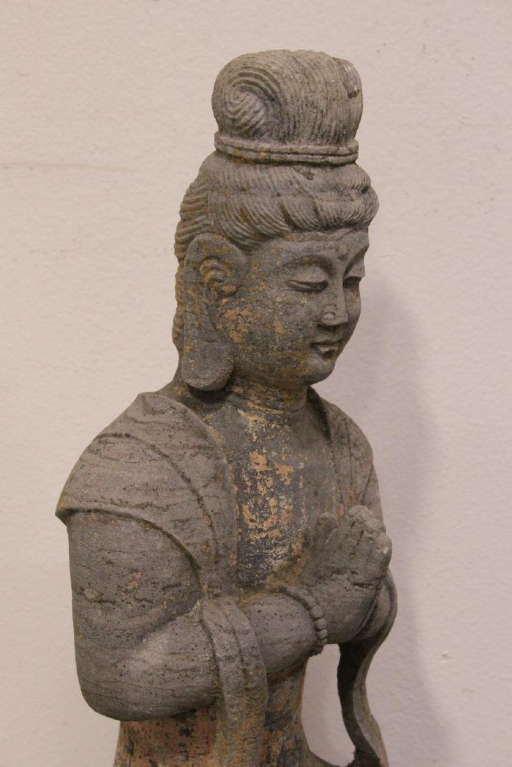 A fine Chinese stone carved standing Buddha - 9