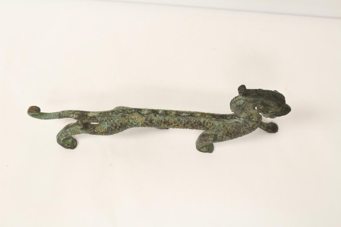 Chinese bronze sculpture of dragon on stand - 10