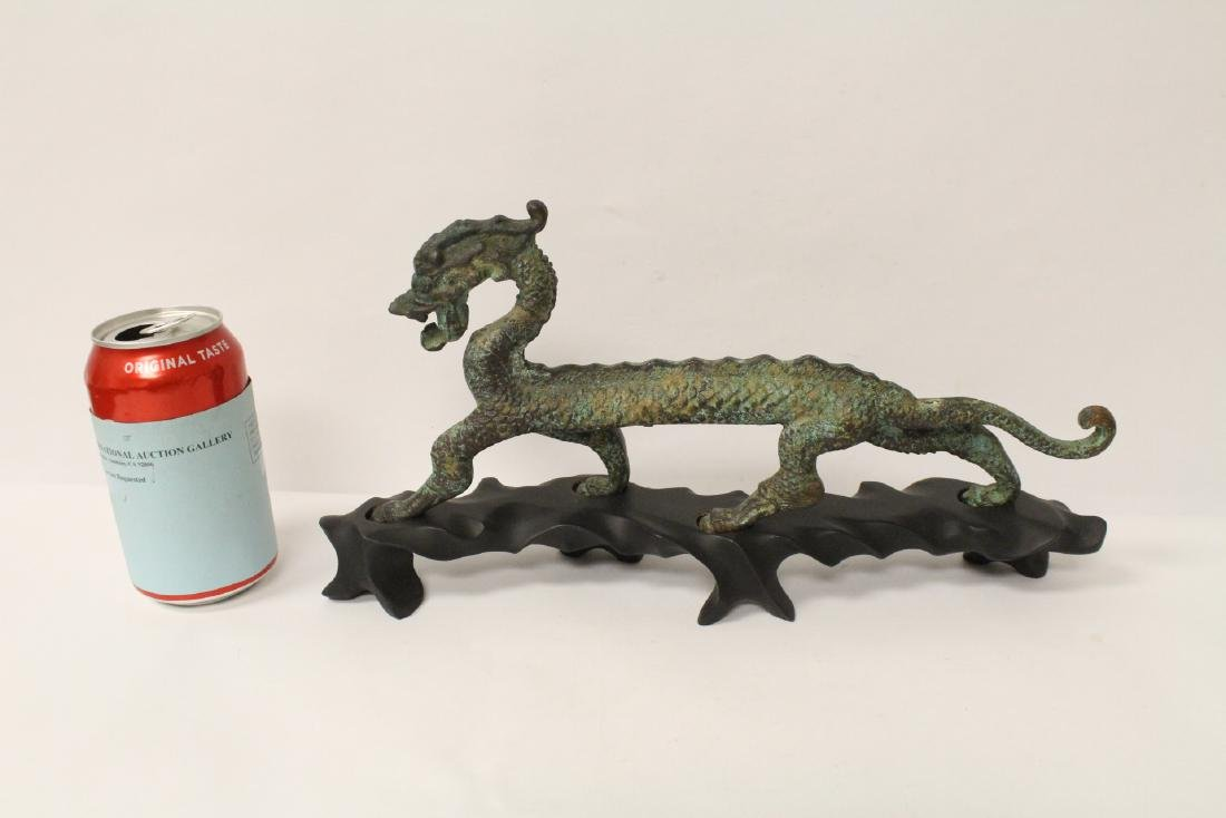 Chinese bronze sculpture of dragon on stand - 2
