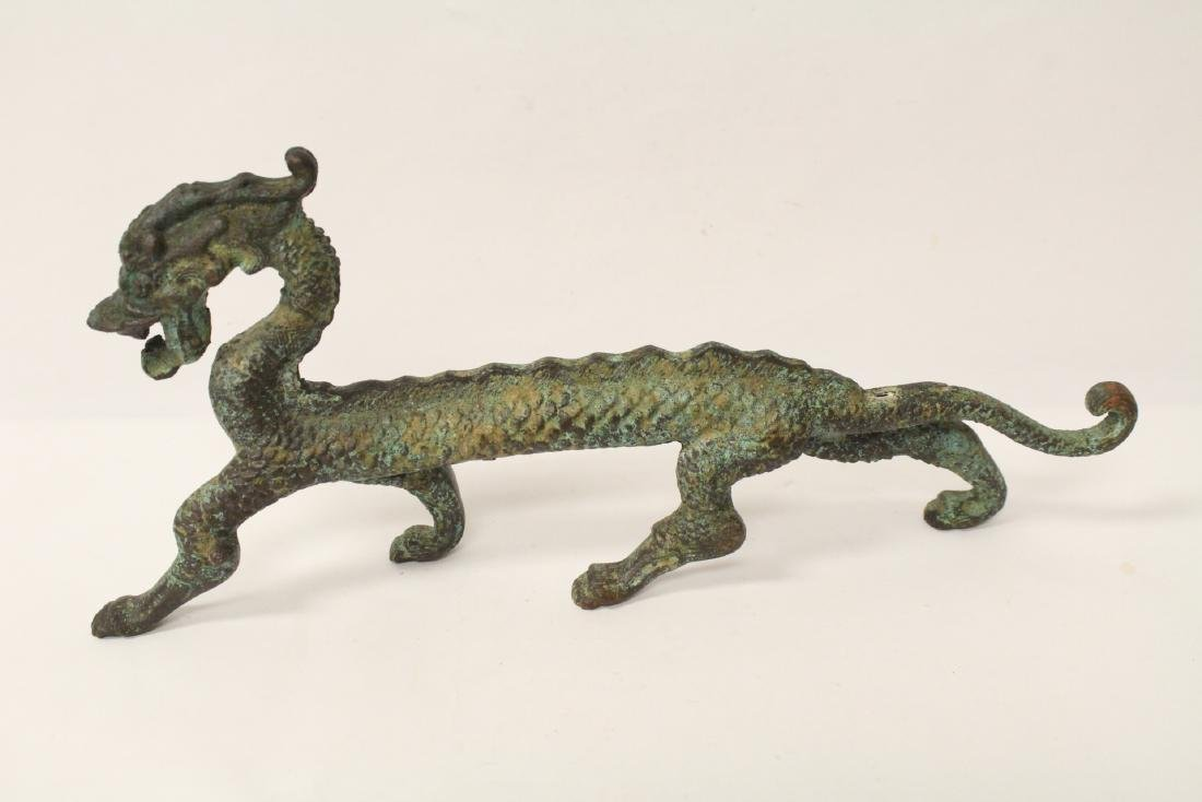 Chinese bronze sculpture of dragon on stand - 3