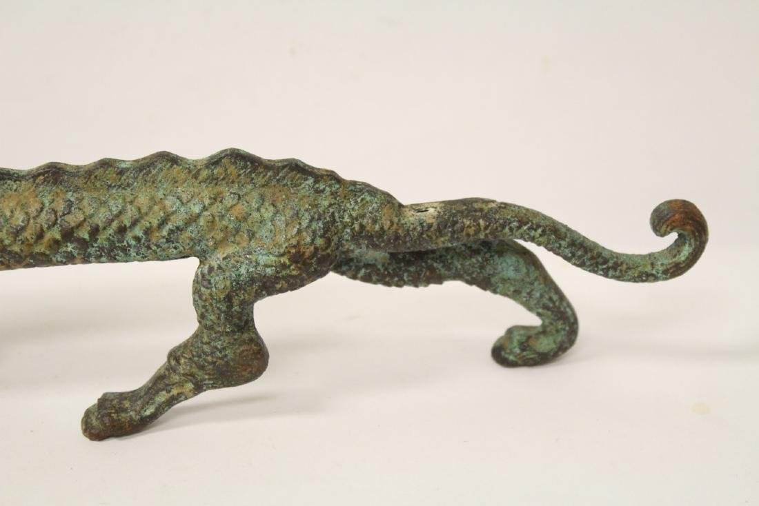 Chinese bronze sculpture of dragon on stand - 5