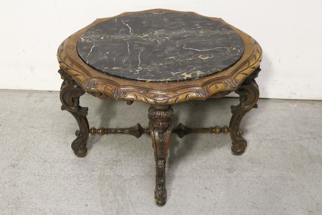 19th century French walnut marble top table - 2