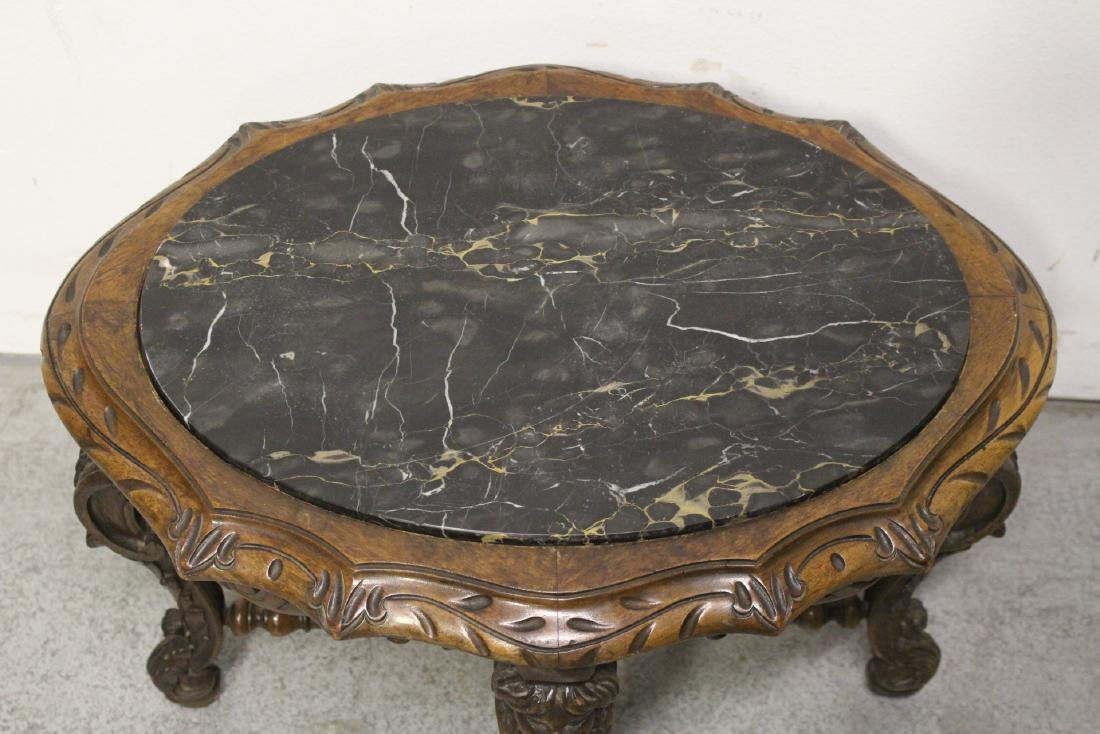 19th century French walnut marble top table - 3