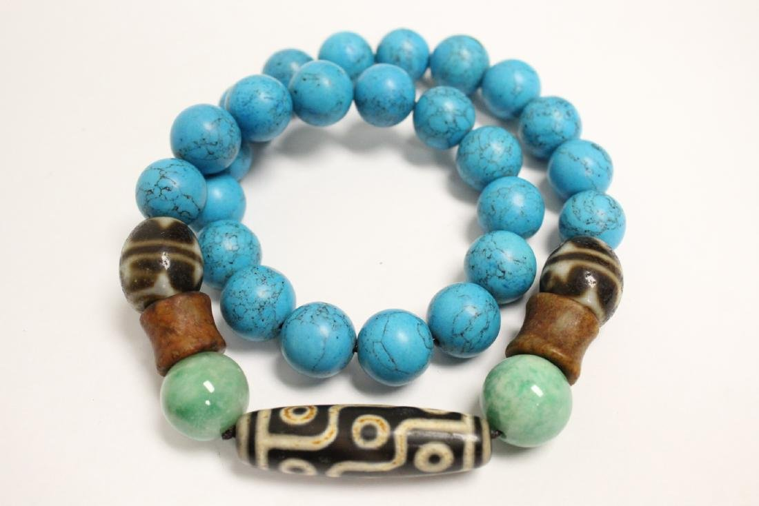 Chinese turquoise like bead necklace - 10