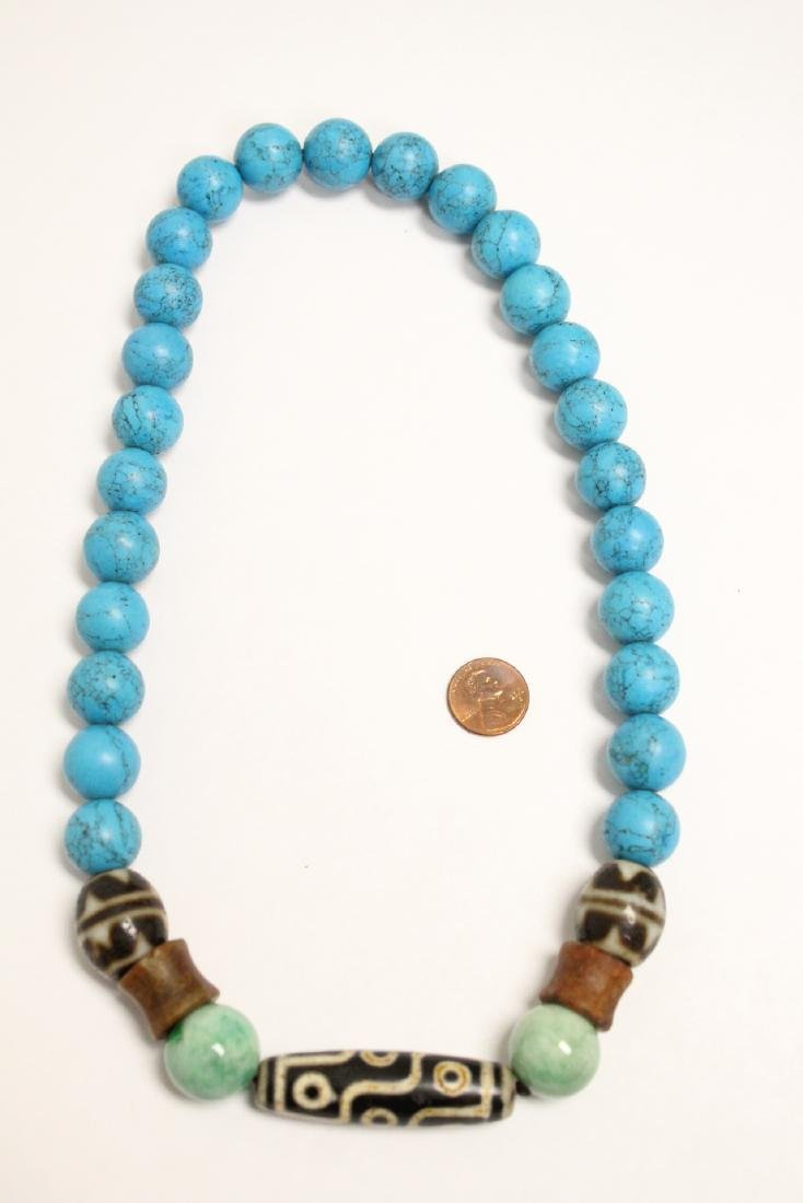 Chinese turquoise like bead necklace