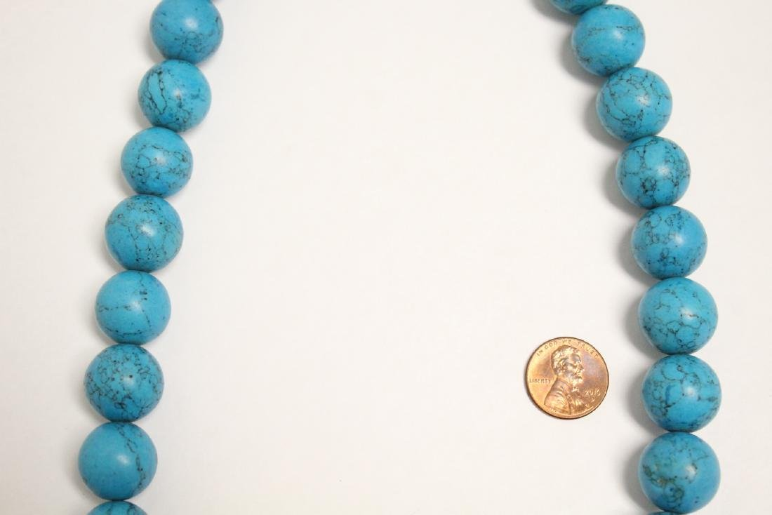 Chinese turquoise like bead necklace - 3