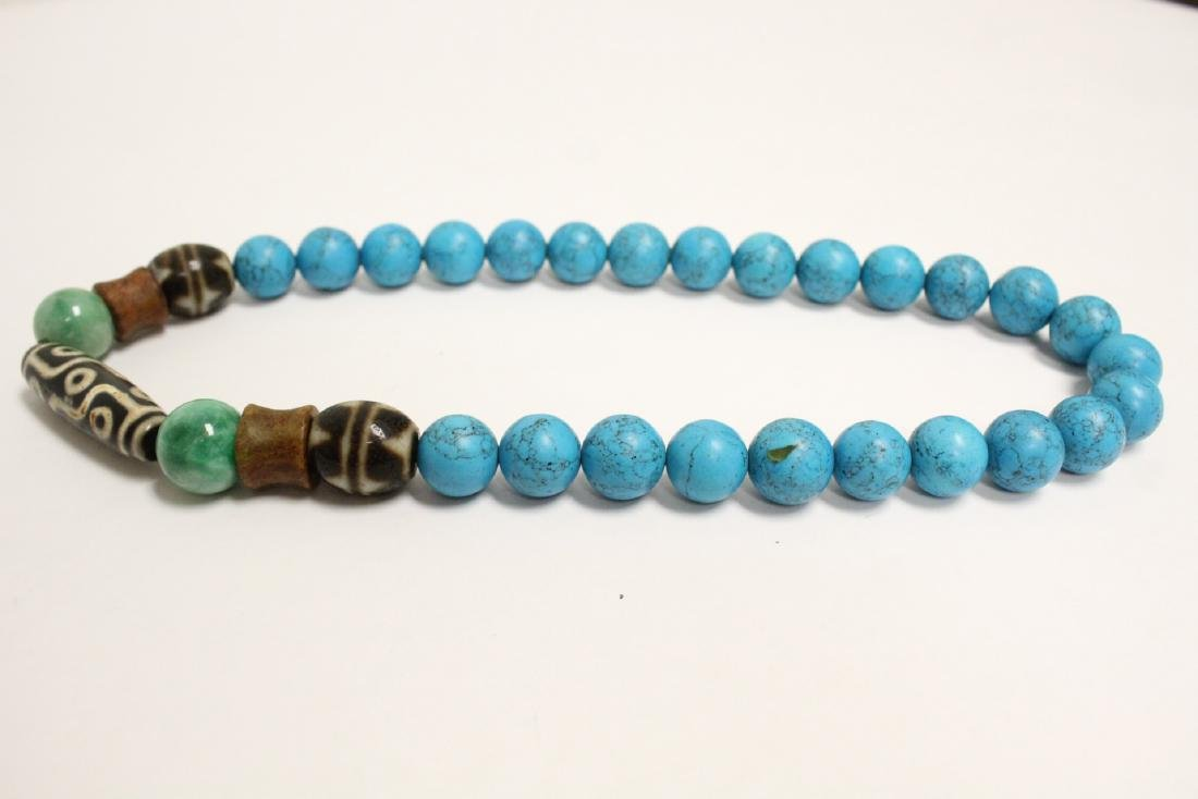 Chinese turquoise like bead necklace - 6