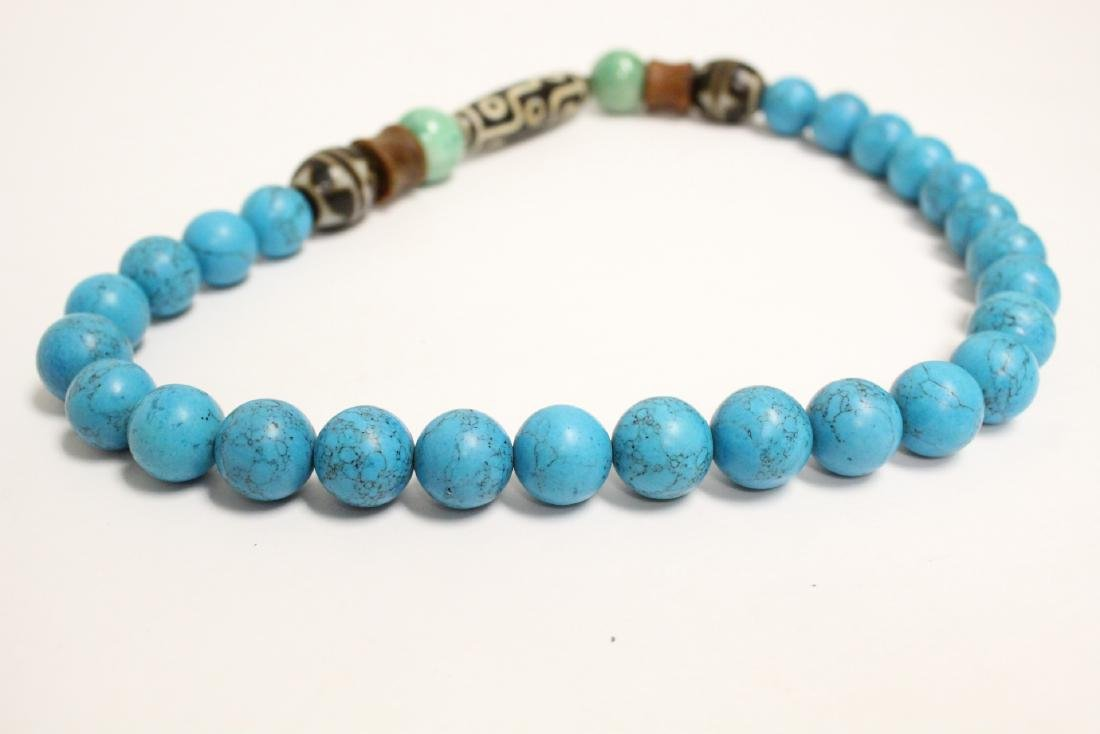 Chinese turquoise like bead necklace - 7