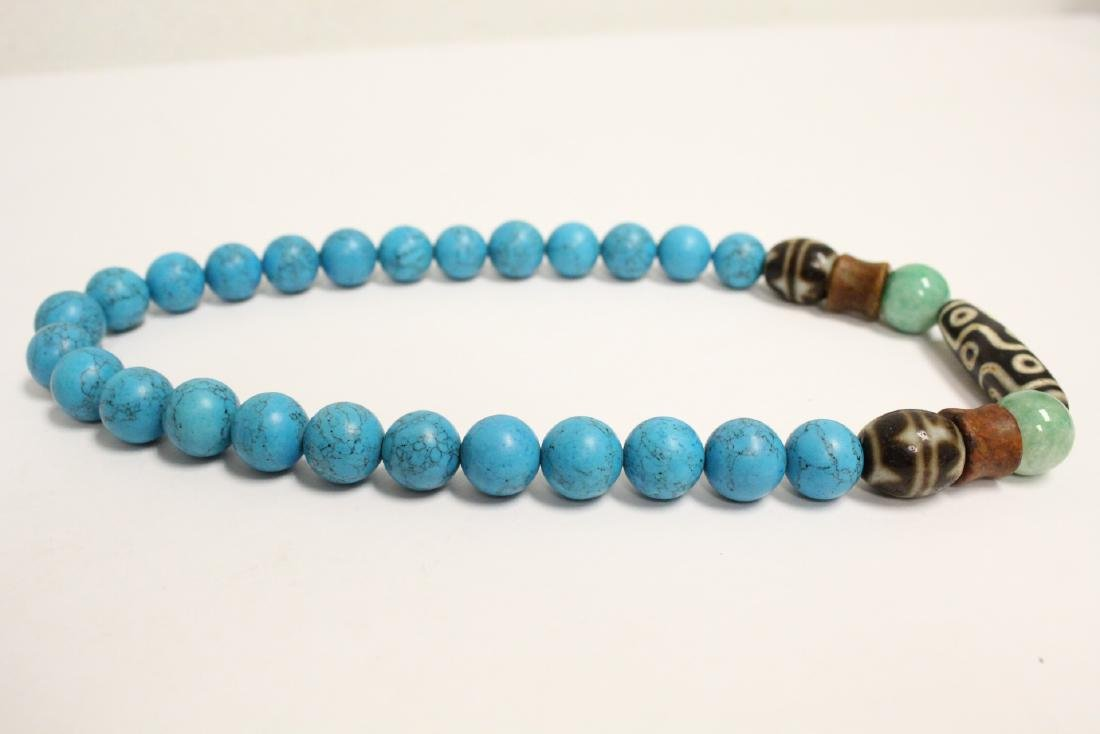 Chinese turquoise like bead necklace - 8