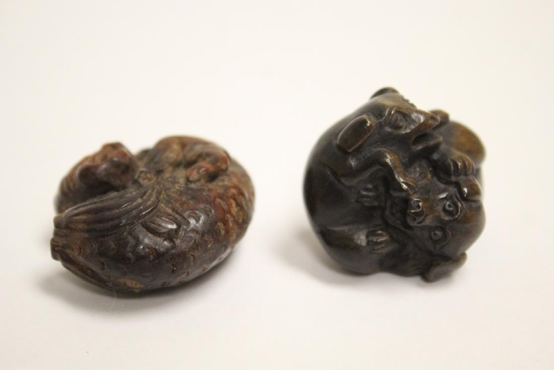 2 Japanese wood netsuke & 2 amber like ornaments - 10
