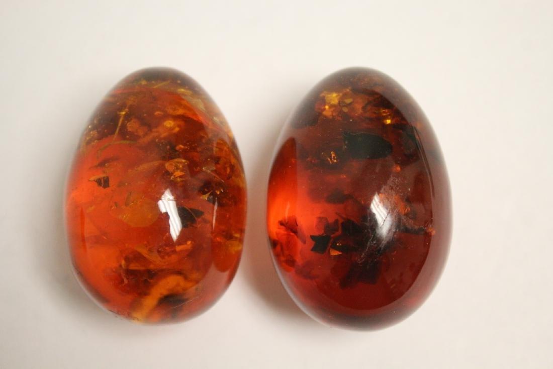 2 Japanese wood netsuke & 2 amber like ornaments - 2