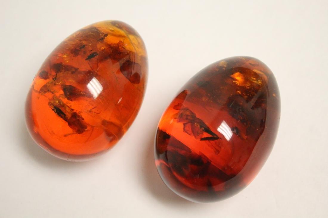 2 Japanese wood netsuke & 2 amber like ornaments - 3