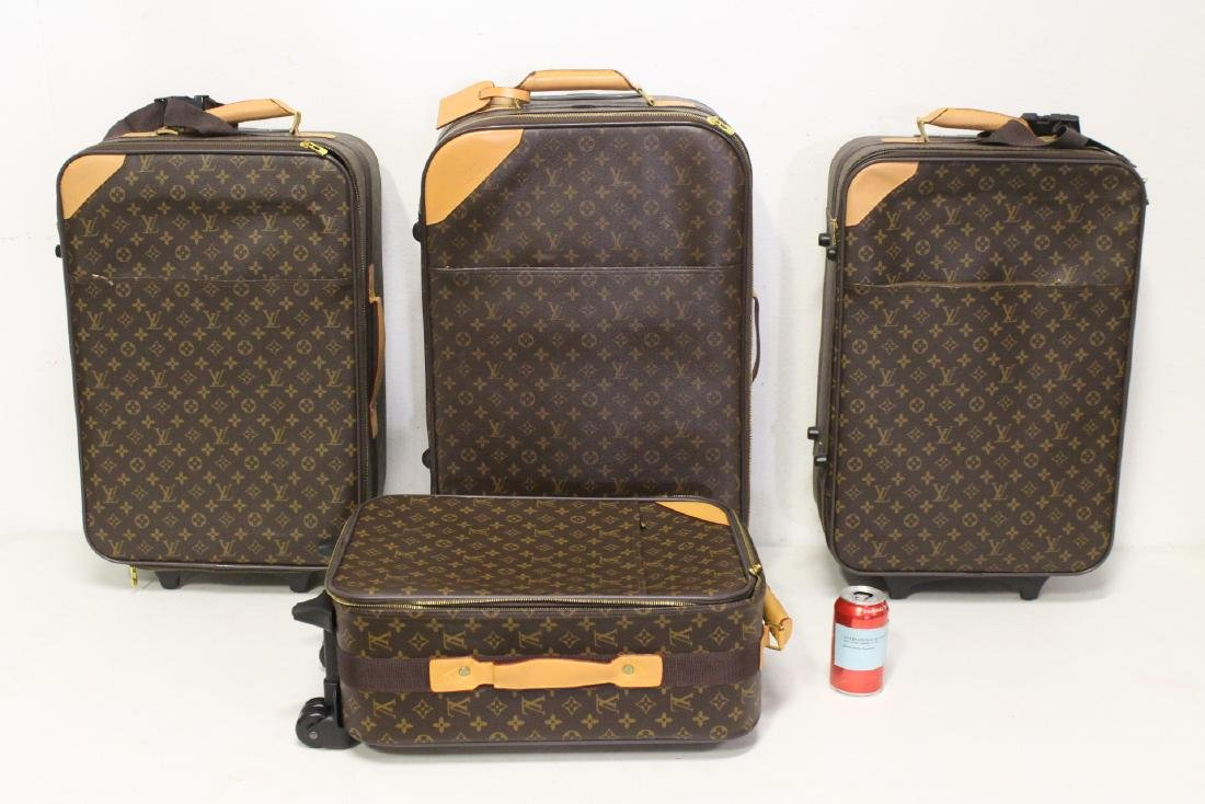 4 Louis Vuitton style leather suitcases
