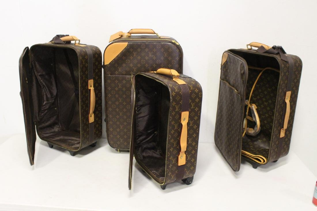 4 Louis Vuitton style leather suitcases - 2