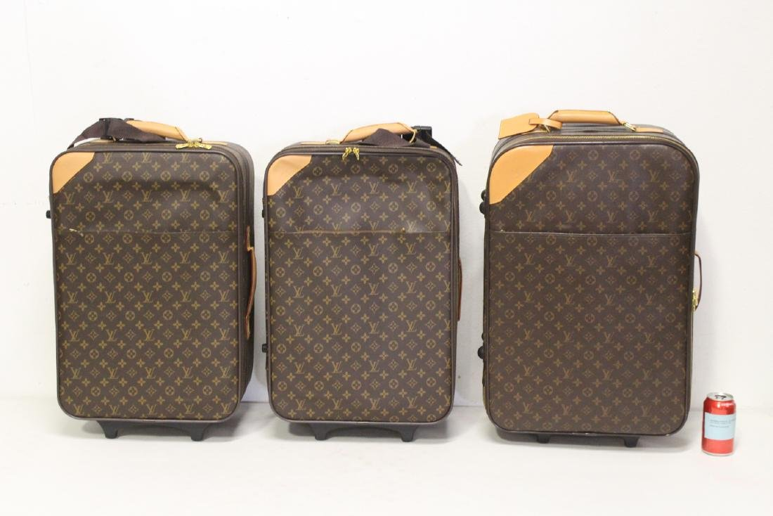 4 Louis Vuitton style leather suitcases - 3