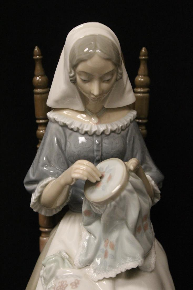 """Lladro figurine """"lady sit on chair sewing"""" - 3"""
