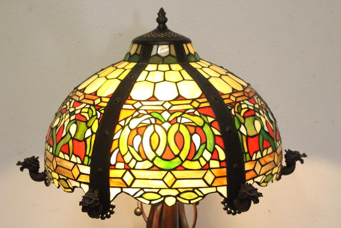 bronze based lamp with leaded glass shade - 2