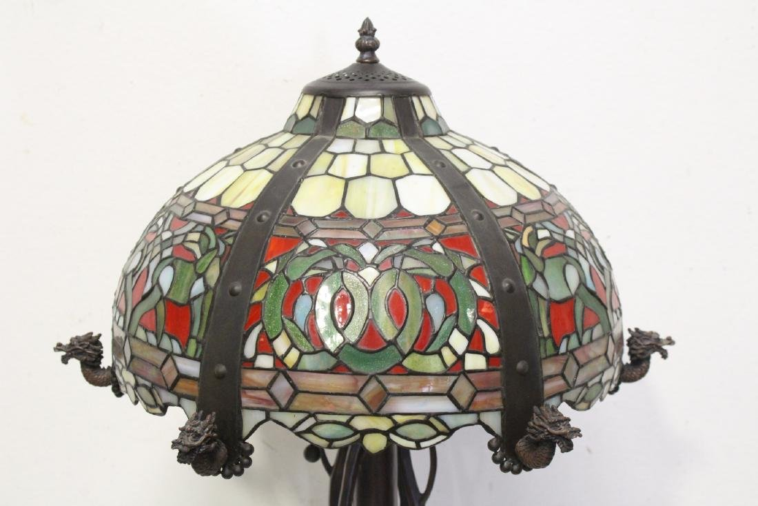 bronze based lamp with leaded glass shade - 3