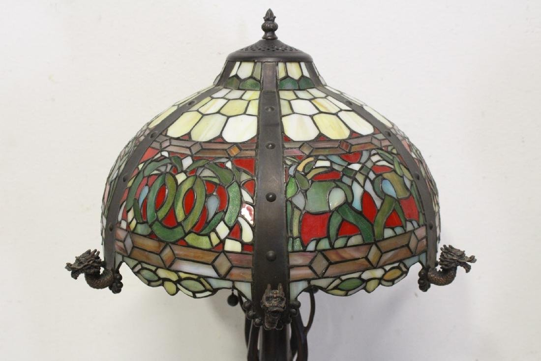 bronze based lamp with leaded glass shade - 4