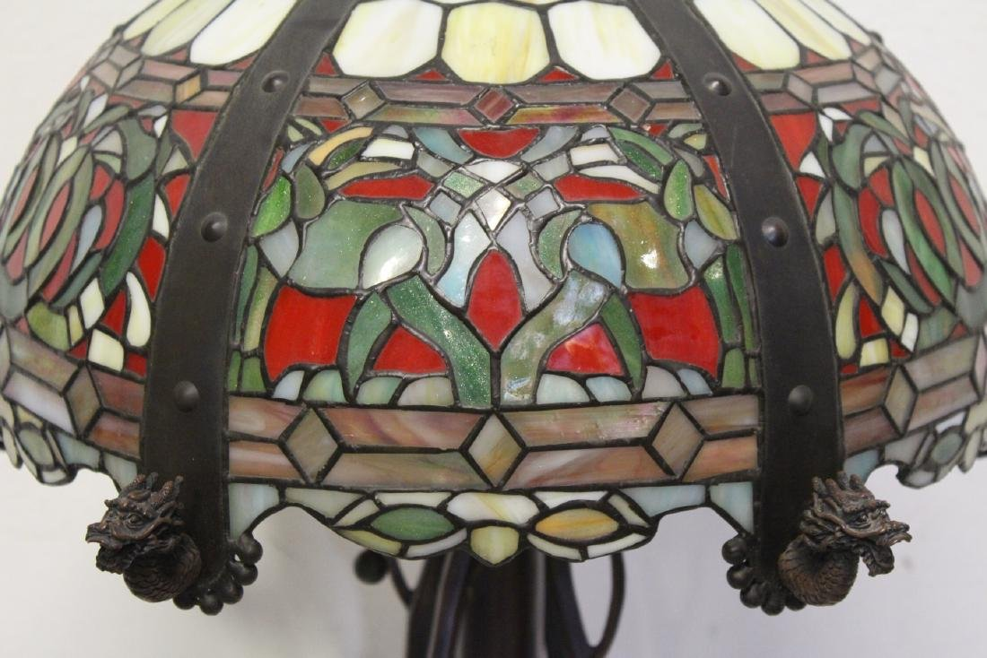 bronze based lamp with leaded glass shade - 6
