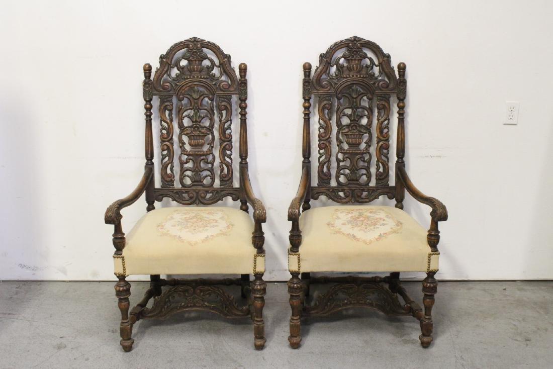 Pair fine 19th century European armchairs