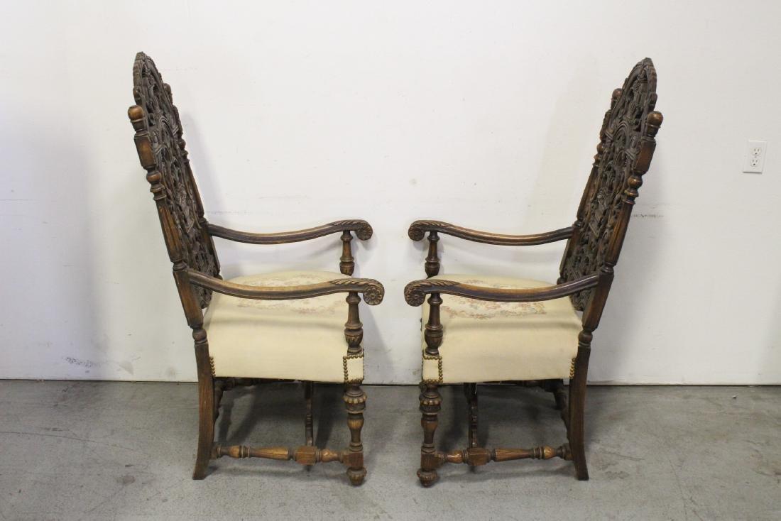 Pair fine 19th century European armchairs - 3