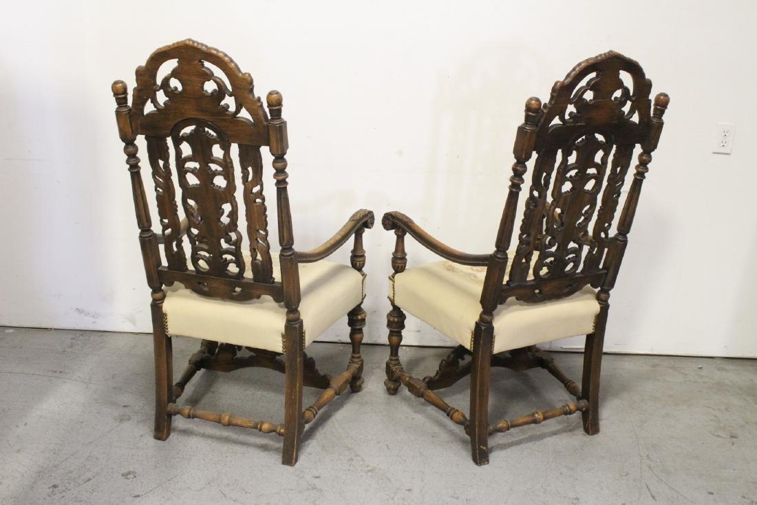 Pair fine 19th century European armchairs - 4