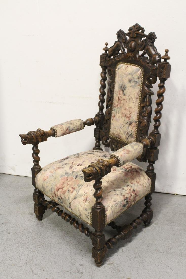 Pair European 19th century oak armchairs - 10