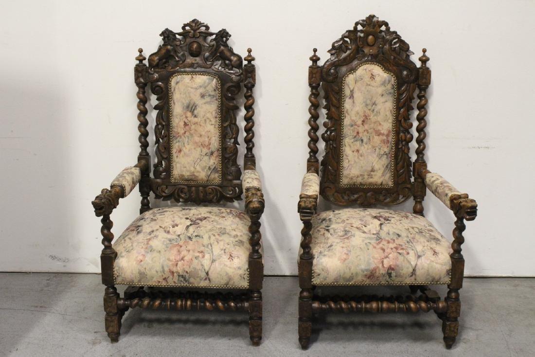 Pair European 19th century oak armchairs