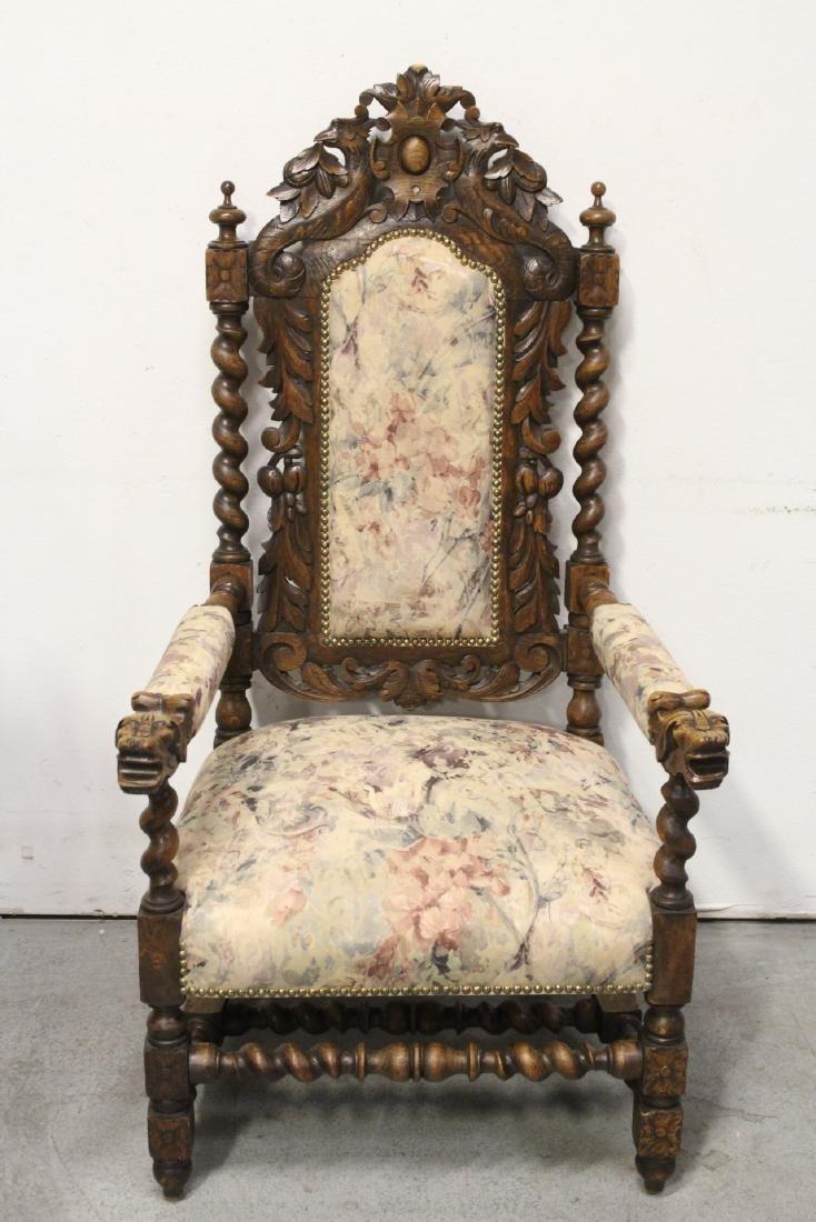 Pair European 19th century oak armchairs - 2