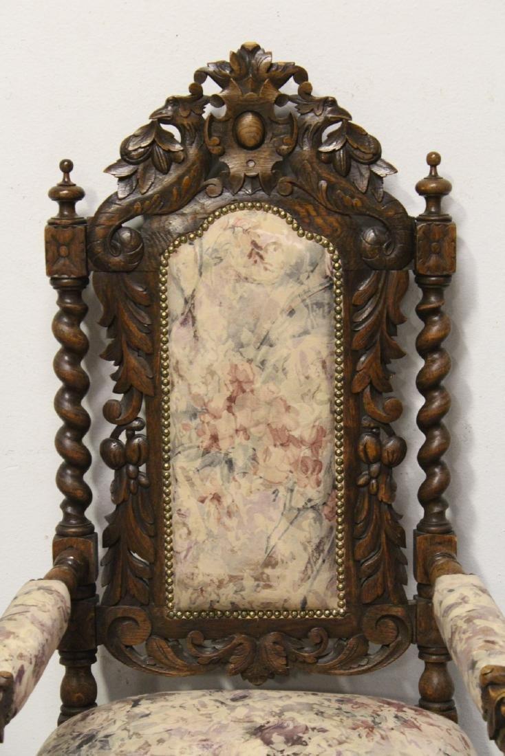 Pair European 19th century oak armchairs - 3