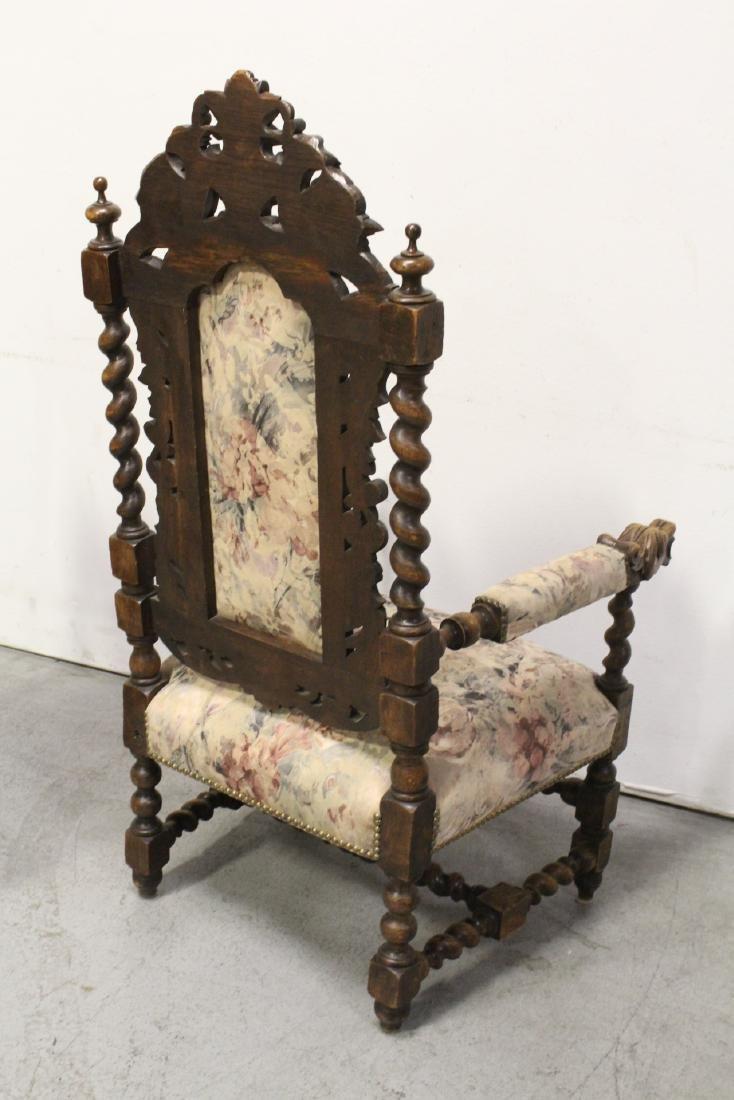 Pair European 19th century oak armchairs - 5
