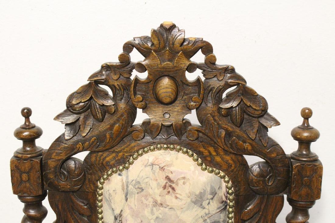 Pair European 19th century oak armchairs - 6